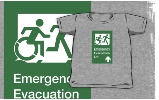 Accessible Exit Sign Project Wheelchair Wheelie Running Man Symbol Means of Egress Icon Disability Emergency Evacuation Fire Safety Lift Elevator Kids T-shirt 3