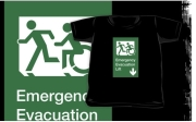 Accessible Exit Sign Project Wheelchair Wheelie Running Man Symbol Means of Egress Icon Disability Emergency Evacuation Fire Safety Lift Elevator Kids T-shirt 4