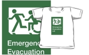 Accessible Exit Sign Project Wheelchair Wheelie Running Man Symbol Means of Egress Icon Disability Emergency Evacuation Fire Safety Lift Elevator Kids T-shirt 5
