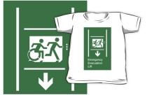 Accessible Exit Sign Project Wheelchair Wheelie Running Man Symbol Means of Egress Icon Disability Emergency Evacuation Fire Safety Lift Elevator Kids T-shirt 7