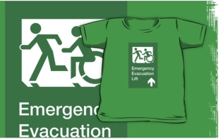 Accessible Exit Sign Project Wheelchair Wheelie Running Man Symbol Means of Egress Icon Disability Emergency Evacuation Fire Safety Lift Elevator Kids T-shirt 8