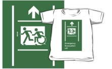 Accessible Exit Sign Project Wheelchair Wheelie Running Man Symbol Means of Egress Icon Disability Emergency Evacuation Fire Safety Lift Elevator Kids T-shirt 9
