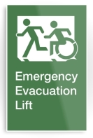 Accessible Exit Sign Project Wheelchair Wheelie Running Man Symbol Means of Egress Icon Disability Emergency Evacuation Fire Safety Lift Elevator Metal Printed 1