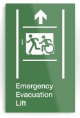 Accessible Exit Sign Project Wheelchair Wheelie Running Man Symbol Means of Egress Icon Disability Emergency Evacuation Fire Safety Lift Elevator Metal Printed 10