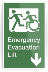 Accessible Exit Sign Project Wheelchair Wheelie Running Man Symbol Means of Egress Icon Disability Emergency Evacuation Fire Safety Lift Elevator Metal Printed 11