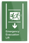 Accessible Exit Sign Project Wheelchair Wheelie Running Man Symbol Means of Egress Icon Disability Emergency Evacuation Fire Safety Lift Elevator Metal Printed 12