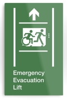 Accessible Exit Sign Project Wheelchair Wheelie Running Man Symbol Means of Egress Icon Disability Emergency Evacuation Fire Safety Lift Elevator Metal Printed 2