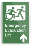 Accessible Exit Sign Project Wheelchair Wheelie Running Man Symbol Means of Egress Icon Disability Emergency Evacuation Fire Safety Lift Elevator Metal Printed 3