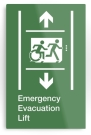Accessible Exit Sign Project Wheelchair Wheelie Running Man Symbol Means of Egress Icon Disability Emergency Evacuation Fire Safety Lift Elevator Metal Printed 4