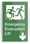 Accessible Exit Sign Project Wheelchair Wheelie Running Man Symbol Means of Egress Icon Disability Emergency Evacuation Fire Safety Lift Elevator Metal Printed 5