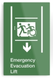 Accessible Exit Sign Project Wheelchair Wheelie Running Man Symbol Means of Egress Icon Disability Emergency Evacuation Fire Safety Lift Elevator Metal Printed 6