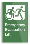 Accessible Exit Sign Project Wheelchair Wheelie Running Man Symbol Means of Egress Icon Disability Emergency Evacuation Fire Safety Lift Elevator Metal Printed 7