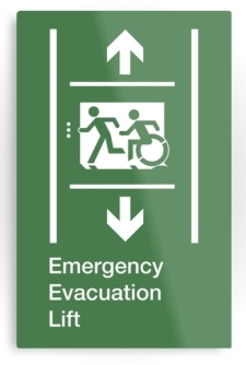 Accessible Exit Sign Project Wheelchair Wheelie Running Man Symbol Means of Egress Icon Disability Emergency Evacuation Fire Safety Lift Elevator Metal Printed 8