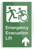 Accessible Exit Sign Project Wheelchair Wheelie Running Man Symbol Means of Egress Icon Disability Emergency Evacuation Fire Safety Lift Elevator Metal Printed 9