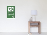 Accessible Exit Sign Project Wheelchair Wheelie Running Man Symbol Means of Egress Icon Disability Emergency Evacuation Fire Safety Lift Elevator Poster 1