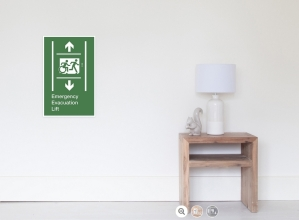 Accessible Exit Sign Project Wheelchair Wheelie Running Man Symbol Means of Egress Icon Disability Emergency Evacuation Fire Safety Lift Elevator Poster 11
