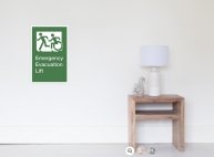 Accessible Exit Sign Project Wheelchair Wheelie Running Man Symbol Means of Egress Icon Disability Emergency Evacuation Fire Safety Lift Elevator Poster 12