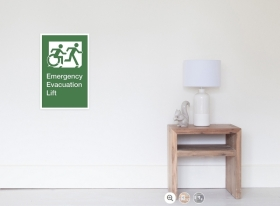Accessible Exit Sign Project Wheelchair Wheelie Running Man Symbol Means of Egress Icon Disability Emergency Evacuation Fire Safety Lift Elevator Poster 5