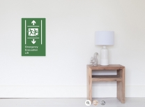 Accessible Exit Sign Project Wheelchair Wheelie Running Man Symbol Means of Egress Icon Disability Emergency Evacuation Fire Safety Lift Elevator Poster 7