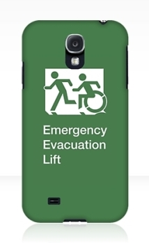 Accessible Exit Sign Project Wheelchair Wheelie Running Man Symbol Means of Egress Icon Disability Emergency Evacuation Fire Safety Lift Elevator Samsung Galaxy Case 1