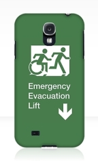 Accessible Exit Sign Project Wheelchair Wheelie Running Man Symbol Means of Egress Icon Disability Emergency Evacuation Fire Safety Lift Elevator Samsung Galaxy Case 11