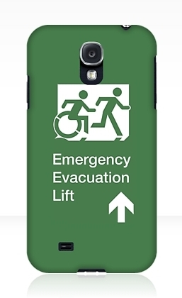 Accessible Exit Sign Project Wheelchair Wheelie Running Man Symbol Means of Egress Icon Disability Emergency Evacuation Fire Safety Lift Elevator Samsung Galaxy Case 9