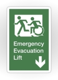 Accessible Exit Sign Project Wheelchair Wheelie Running Man Symbol Means of Egress Icon Disability Emergency Evacuation Fire Safety Lift Elevator Sticker 1