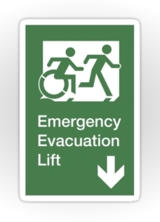 Accessible Exit Sign Project Wheelchair Wheelie Running Man Symbol Means of Egress Icon Disability Emergency Evacuation Fire Safety Lift Elevator Sticker 10