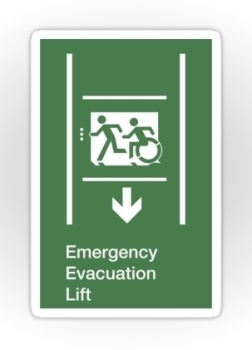 Accessible Exit Sign Project Wheelchair Wheelie Running Man Symbol Means of Egress Icon Disability Emergency Evacuation Fire Safety Lift Elevator Sticker 11