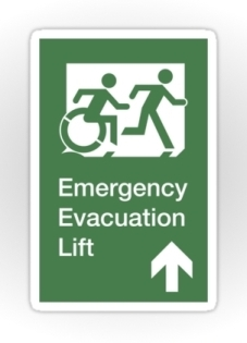 Accessible Exit Sign Project Wheelchair Wheelie Running Man Symbol Means of Egress Icon Disability Emergency Evacuation Fire Safety Lift Elevator Sticker 12
