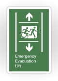 Accessible Exit Sign Project Wheelchair Wheelie Running Man Symbol Means of Egress Icon Disability Emergency Evacuation Fire Safety Lift Elevator Sticker 2