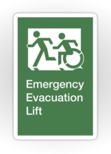 Accessible Exit Sign Project Wheelchair Wheelie Running Man Symbol Means of Egress Icon Disability Emergency Evacuation Fire Safety Lift Elevator Sticker 3
