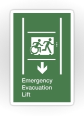 Accessible Exit Sign Project Wheelchair Wheelie Running Man Symbol Means of Egress Icon Disability Emergency Evacuation Fire Safety Lift Elevator Sticker 5