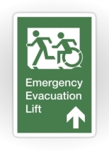 Accessible Exit Sign Project Wheelchair Wheelie Running Man Symbol Means of Egress Icon Disability Emergency Evacuation Fire Safety Lift Elevator Sticker 6