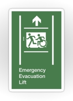 Accessible Exit Sign Project Wheelchair Wheelie Running Man Symbol Means of Egress Icon Disability Emergency Evacuation Fire Safety Lift Elevator Sticker 7