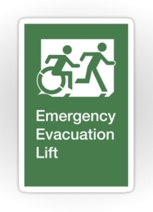 Accessible Exit Sign Project Wheelchair Wheelie Running Man Symbol Means of Egress Icon Disability Emergency Evacuation Fire Safety Lift Elevator Sticker 8