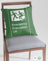 Accessible Exit Sign Project Wheelchair Wheelie Running Man Symbol Means of Egress Icon Disability Emergency Evacuation Fire Safety Lift Elevator Throw Pillow 1