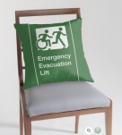 Accessible Exit Sign Project Wheelchair Wheelie Running Man Symbol Means of Egress Icon Disability Emergency Evacuation Fire Safety Lift Elevator Throw Pillow 10