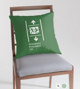 Accessible Exit Sign Project Wheelchair Wheelie Running Man Symbol Means of Egress Icon Disability Emergency Evacuation Fire Safety Lift Elevator Throw Pillow 11
