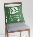 Accessible Exit Sign Project Wheelchair Wheelie Running Man Symbol Means of Egress Icon Disability Emergency Evacuation Fire Safety Lift Elevator Throw Pillow 12