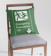 Accessible Exit Sign Project Wheelchair Wheelie Running Man Symbol Means of Egress Icon Disability Emergency Evacuation Fire Safety Lift Elevator Throw Pillow 3