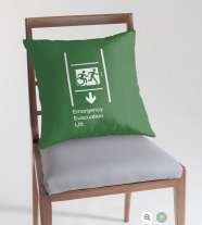 Accessible Exit Sign Project Wheelchair Wheelie Running Man Symbol Means of Egress Icon Disability Emergency Evacuation Fire Safety Lift Elevator Throw Pillow 4