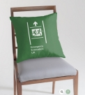 Accessible Exit Sign Project Wheelchair Wheelie Running Man Symbol Means of Egress Icon Disability Emergency Evacuation Fire Safety Lift Elevator Throw Pillow 5
