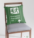 Accessible Exit Sign Project Wheelchair Wheelie Running Man Symbol Means of Egress Icon Disability Emergency Evacuation Fire Safety Lift Elevator Throw Pillow 6