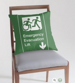 Accessible Exit Sign Project Wheelchair Wheelie Running Man Symbol Means of Egress Icon Disability Emergency Evacuation Fire Safety Lift Elevator Throw Pillow 8