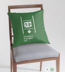 Accessible Exit Sign Project Wheelchair Wheelie Running Man Symbol Means of Egress Icon Disability Emergency Evacuation Fire Safety Lift Elevator Throw Pillow 9
