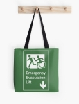 Accessible Exit Sign Project Wheelchair Wheelie Running Man Symbol Means of Egress Icon Disability Emergency Evacuation Fire Safety Lift Elevator Tote Bag 1