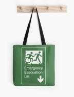 Accessible Exit Sign Project Wheelchair Wheelie Running Man Symbol Means of Egress Icon Disability Emergency Evacuation Fire Safety Lift Elevator Tote Bag 10