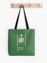 Accessible Exit Sign Project Wheelchair Wheelie Running Man Symbol Means of Egress Icon Disability Emergency Evacuation Fire Safety Lift Elevator Tote Bag 2