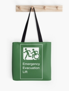 Accessible Exit Sign Project Wheelchair Wheelie Running Man Symbol Means of Egress Icon Disability Emergency Evacuation Fire Safety Lift Elevator Tote Bag 3